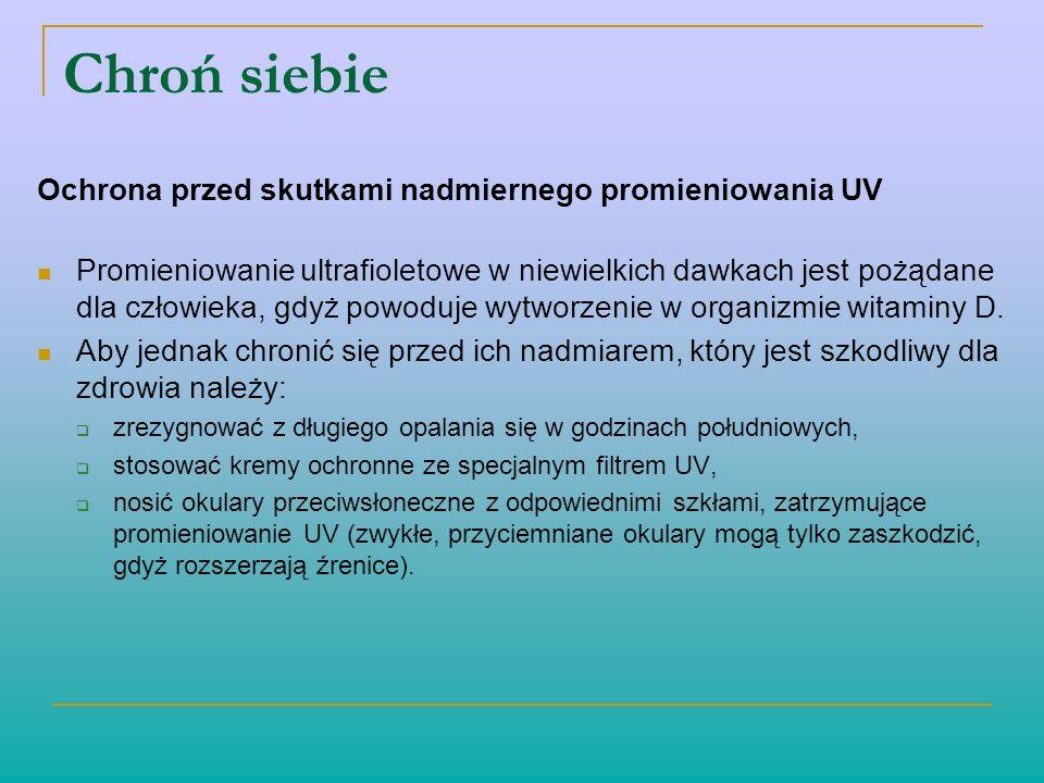 Chroń siebie Ochrona przed skutkami nadmiernego promieniowania UV Promieniowanie ultrafioletowe w niewielkich dawkach jest pożądane dla człowieka, gdy
