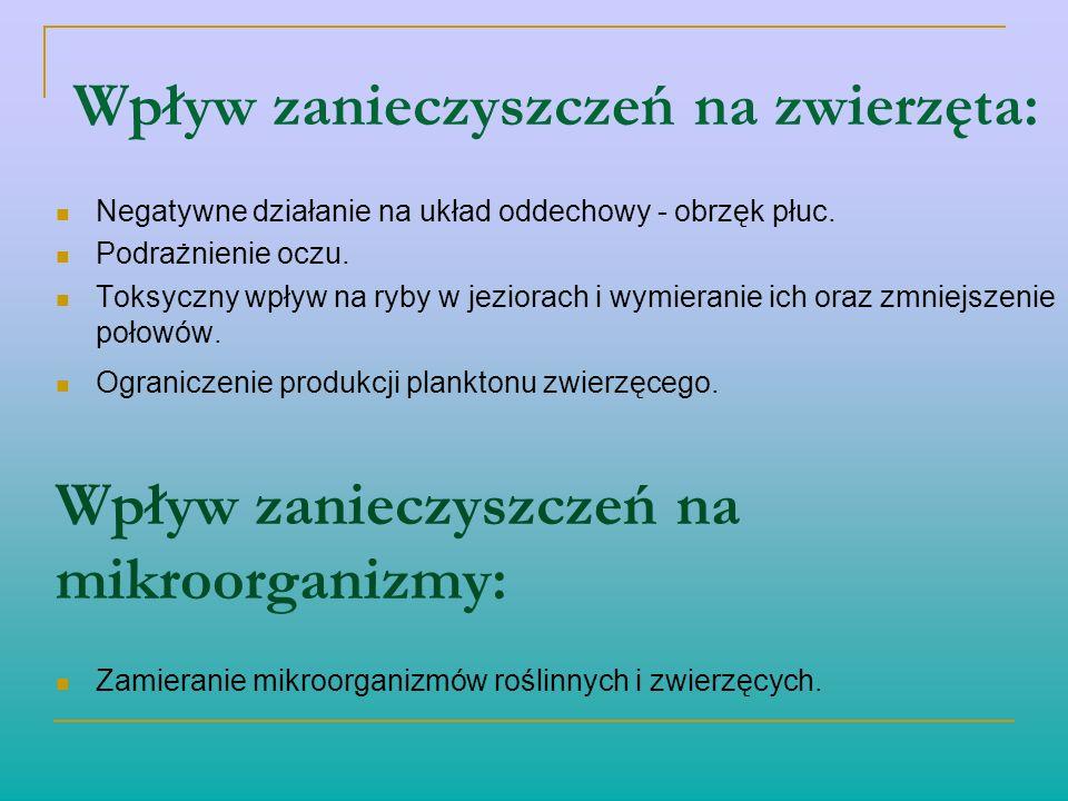 Wpływ zanieczyszczeń na zwierzęta: Negatywne działanie na układ oddechowy - obrzęk płuc. Podrażnienie oczu. Toksyczny wpływ na ryby w jeziorach i wymi