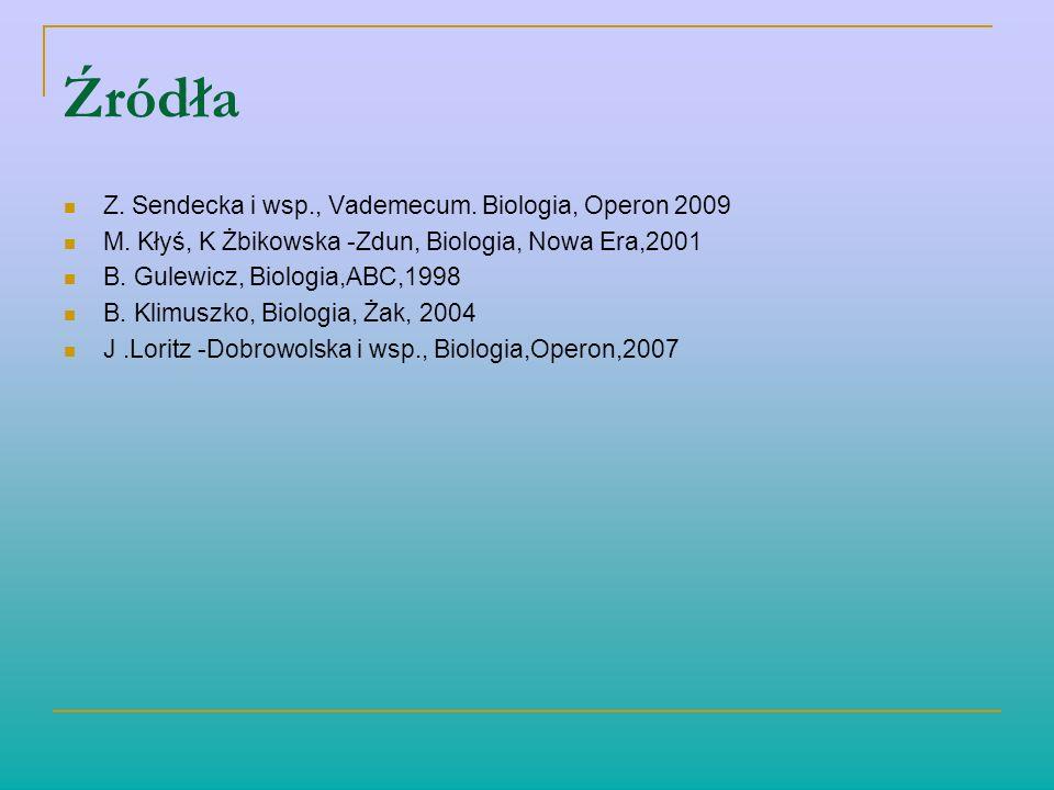 Źródła Z. Sendecka i wsp., Vademecum. Biologia, Operon 2009 M. Kłyś, K Żbikowska -Zdun, Biologia, Nowa Era,2001 B. Gulewicz, Biologia,ABC,1998 B. Klim