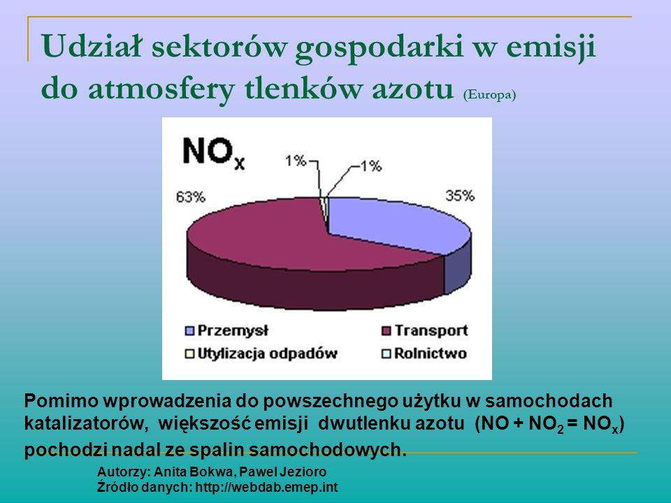 Udział sektorów gospodarki w emisji do atmosfery tlenków azotu (Europa) Pomimo wprowadzenia do powszechnego użytku w samochodach katalizatorów, większ
