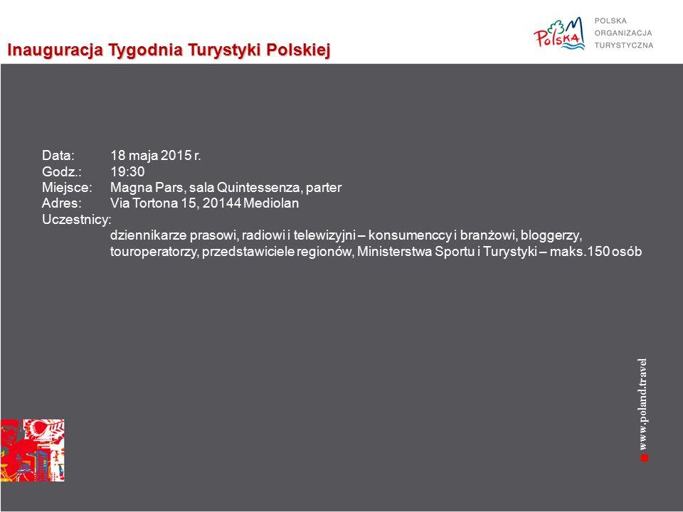 www.poland.travel Inauguracja Tygodnia Turystyki Polskiej Data: 18 maja 2015 r.
