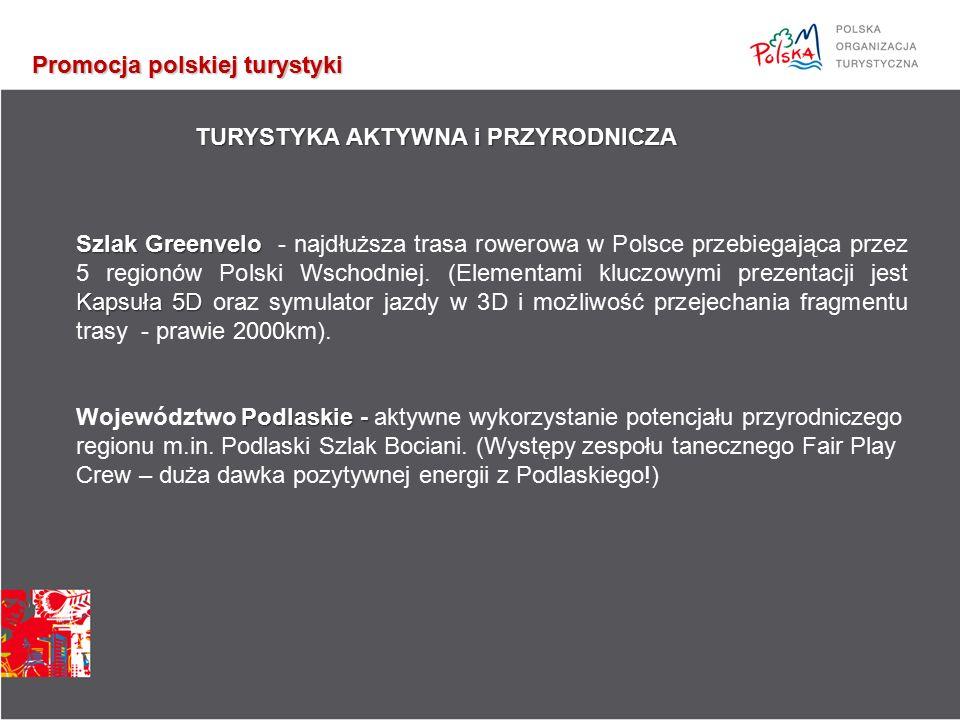 Promocja polskiej turystyki TURYSTYKA AKTYWNA i PRZYRODNICZA Szlak Greenvelo Kapsuła 5D Szlak Greenvelo - najdłuższa trasa rowerowa w Polsce przebiegająca przez 5 regionów Polski Wschodniej.