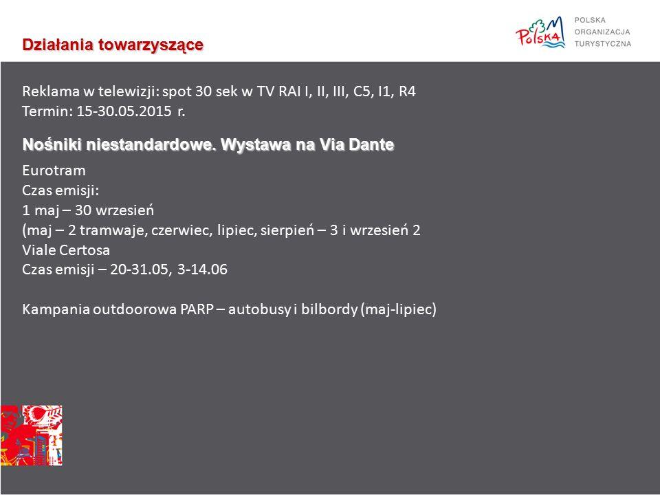 Działania towarzyszące Reklama w telewizji: spot 30 sek w TV RAI I, II, III, C5, I1, R4 Termin: 15-30.05.2015 r.
