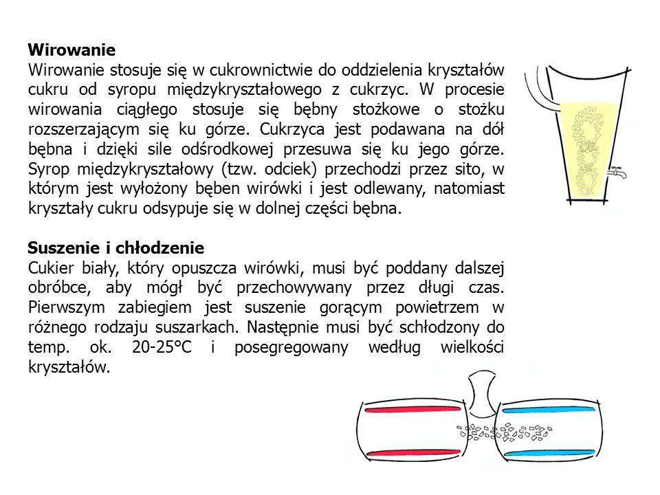 Wirowanie Wirowanie stosuje się w cukrownictwie do oddzielenia kryształów cukru od syropu międzykryształowego z cukrzyc. W procesie wirowania ciągłego
