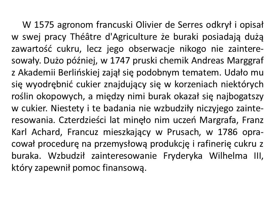 W 1575 agronom francuski Olivier de Serres odkrył i opisał w swej pracy Théâtre d'Agriculture że buraki posiadają dużą zawartość cukru, lecz jego obse