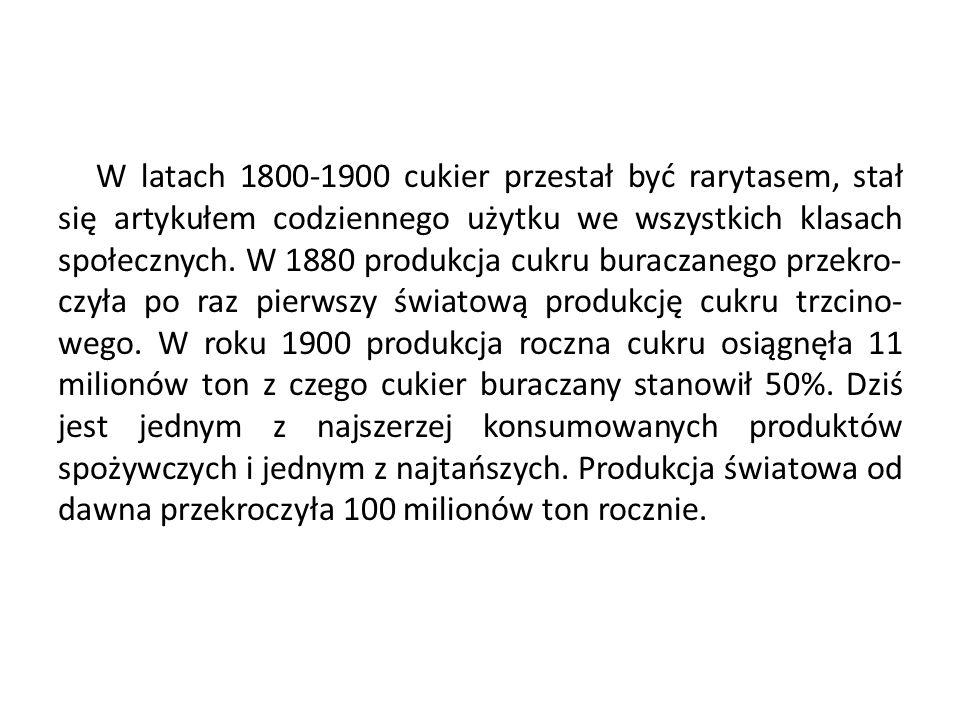 W latach 1800-1900 cukier przestał być rarytasem, stał się artykułem codziennego użytku we wszystkich klasach społecznych. W 1880 produkcja cukru bura