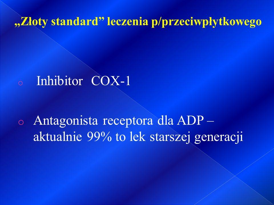 """o Inhibitor COX-1 o Antagonista receptora dla ADP – aktualnie 99% to lek starszej generacji """"Złoty standard leczenia p/przeciwpłytkowego"""