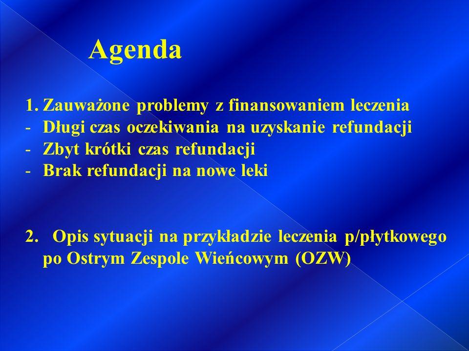 Agenda 1.Zauważone problemy z finansowaniem leczenia -Długi czas oczekiwania na uzyskanie refundacji -Zbyt krótki czas refundacji -Brak refundacji na nowe leki 2.