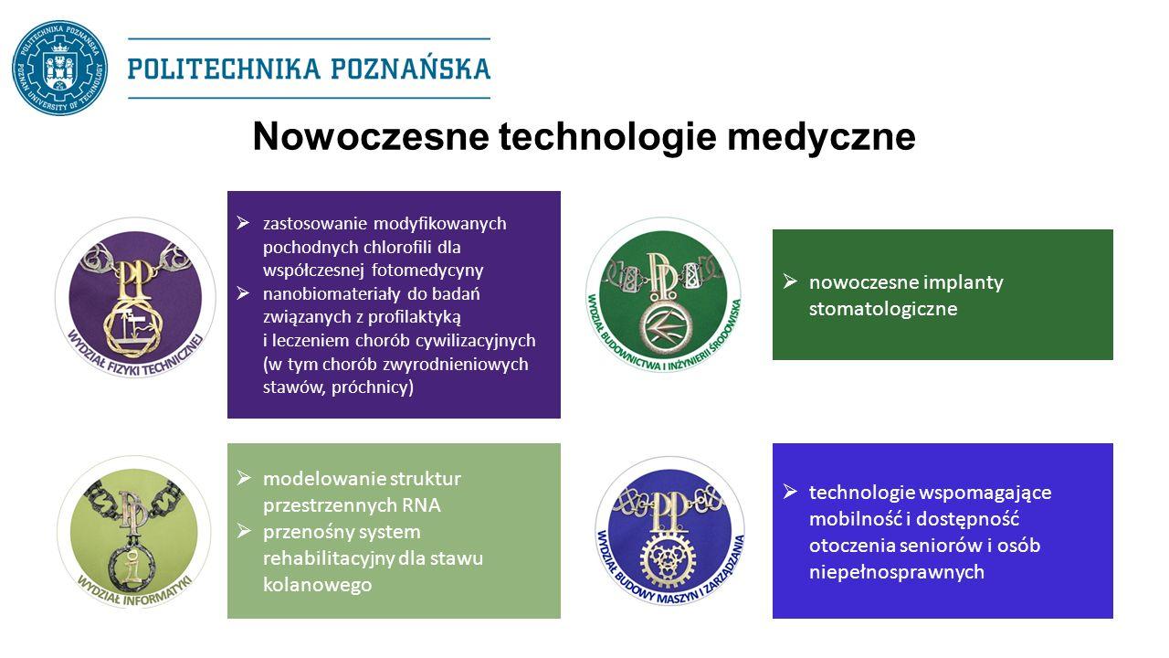 Nowoczesne technologie medyczne  zastosowanie modyfikowanych pochodnych chlorofili dla współczesnej fotomedycyny  nanobiomateriały do badań związanych z profilaktyką i leczeniem chorób cywilizacyjnych (w tym chorób zwyrodnieniowych stawów, próchnicy)  modelowanie struktur przestrzennych RNA  przenośny system rehabilitacyjny dla stawu kolanowego  nowoczesne implanty stomatologiczne  technologie wspomagające mobilność i dostępność otoczenia seniorów i osób niepełnosprawnych