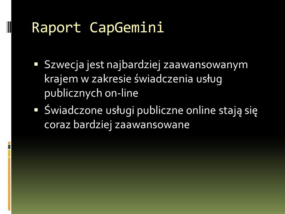 Raport CapGemini  Szwecja jest najbardziej zaawansowanym krajem w zakresie świadczenia usług publicznych on-line  Świadczone usługi publiczne online stają się coraz bardziej zaawansowane