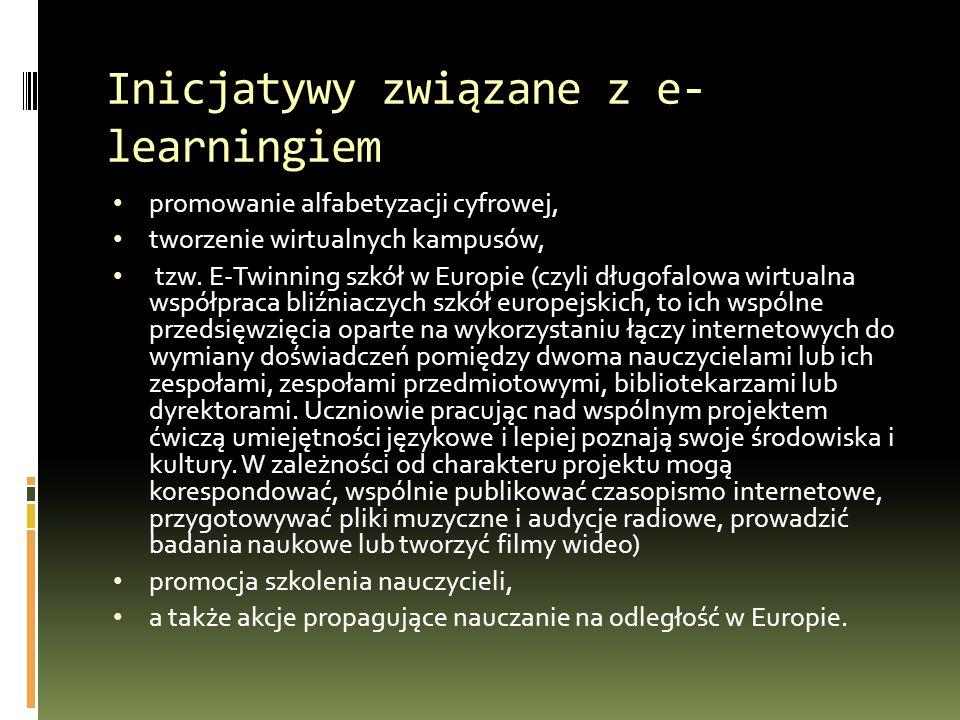 Inicjatywy związane z e- learningiem promowanie alfabetyzacji cyfrowej, tworzenie wirtualnych kampusów, tzw.