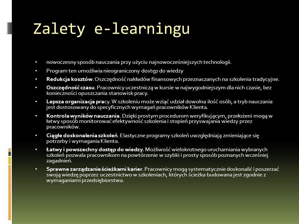 Zalety e-learningu nowoczesny sposób nauczania przy użyciu najnowocześniejszych technologii.