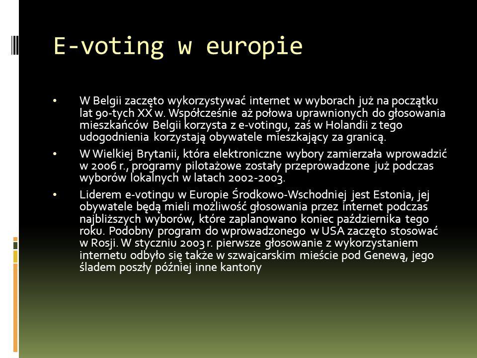 E-voting w europie W Belgii zaczęto wykorzystywać internet w wyborach już na początku lat 90-tych XX w.