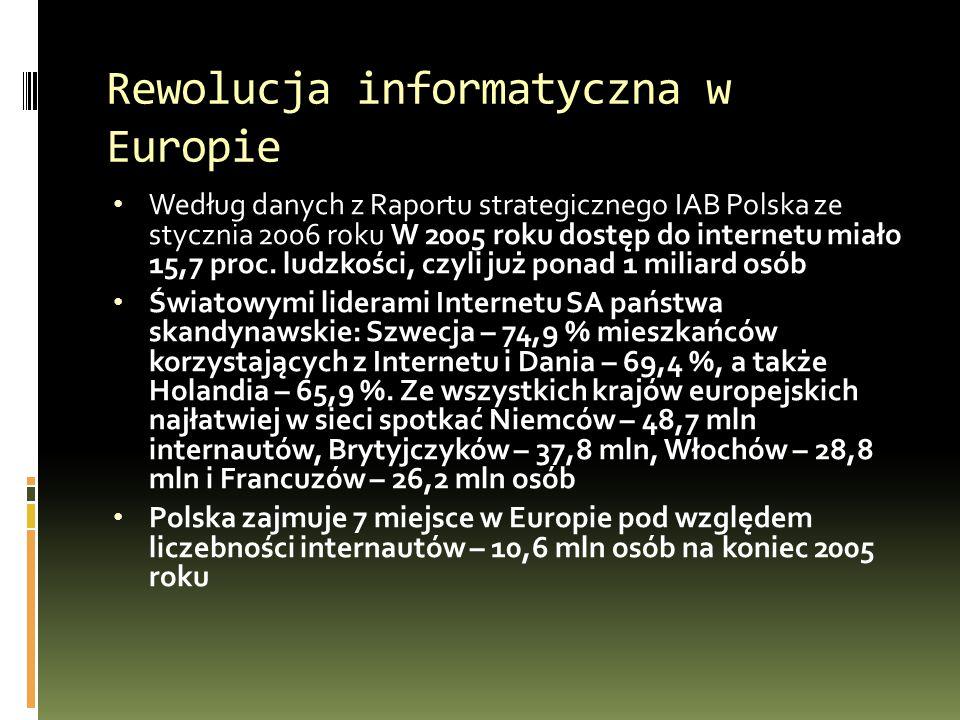 Rewolucja informatyczna w Europie Według danych z Raportu strategicznego IAB Polska ze stycznia 2006 roku W 2005 roku dostęp do internetu miało 15,7 proc.