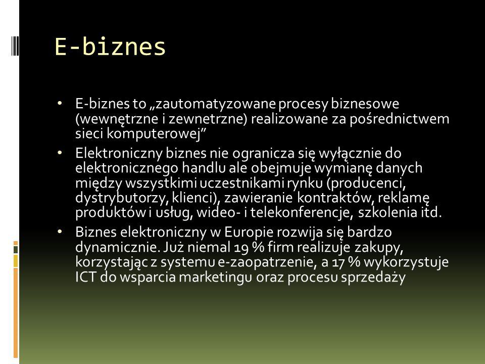 """E-biznes E-biznes to """"zautomatyzowane procesy biznesowe (wewnętrzne i zewnetrzne) realizowane za pośrednictwem sieci komputerowej Elektroniczny biznes nie ogranicza się wyłącznie do elektronicznego handlu ale obejmuje wymianę danych między wszystkimi uczestnikami rynku (producenci, dystrybutorzy, klienci), zawieranie kontraktów, reklamę produktów i usług, wideo- i telekonferencje, szkolenia itd."""