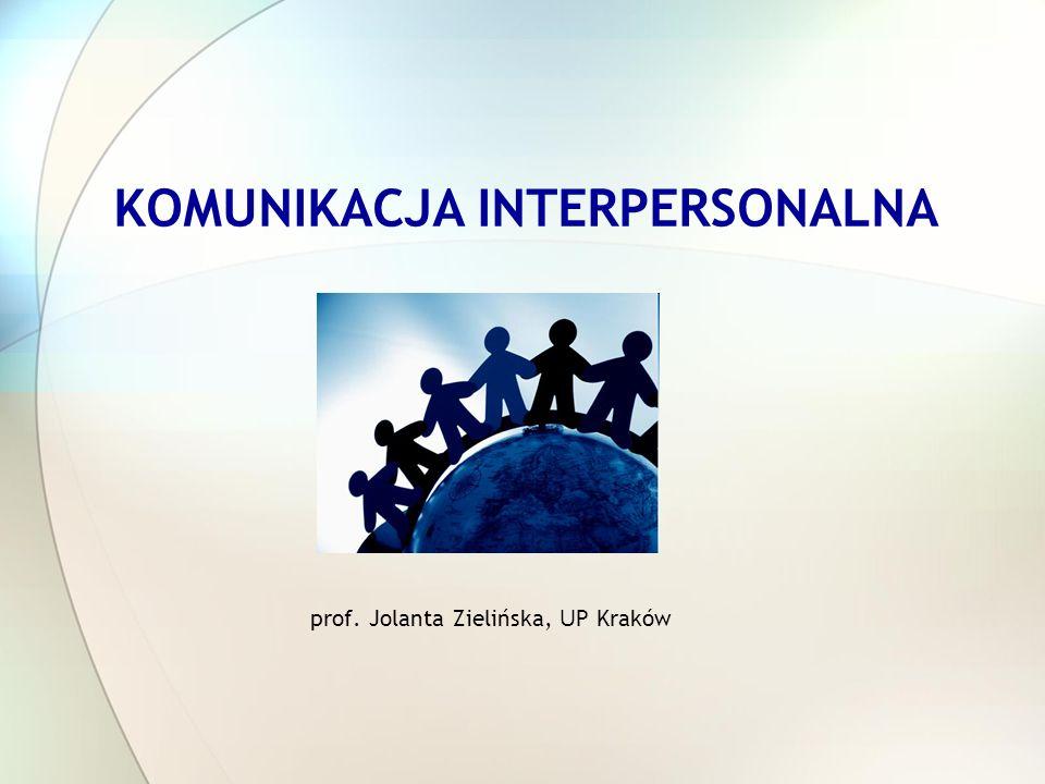 KOMUNIKACJA INTERPERSONALNA prof. Jolanta Zielińska, U P Kraków