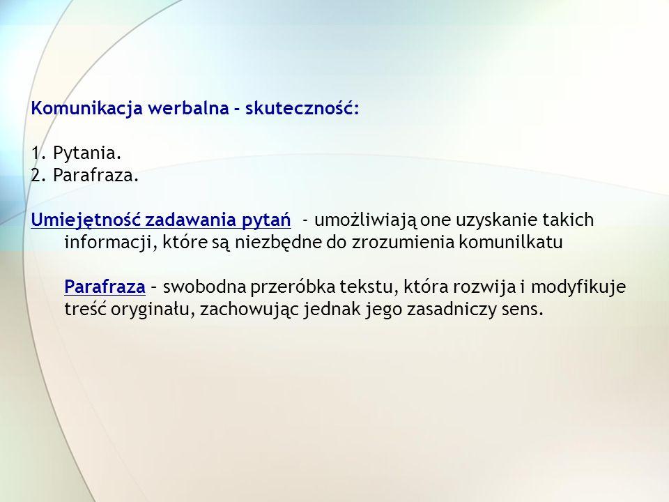 Komunikacja werbalna - skuteczność: 1. Pytania. 2.
