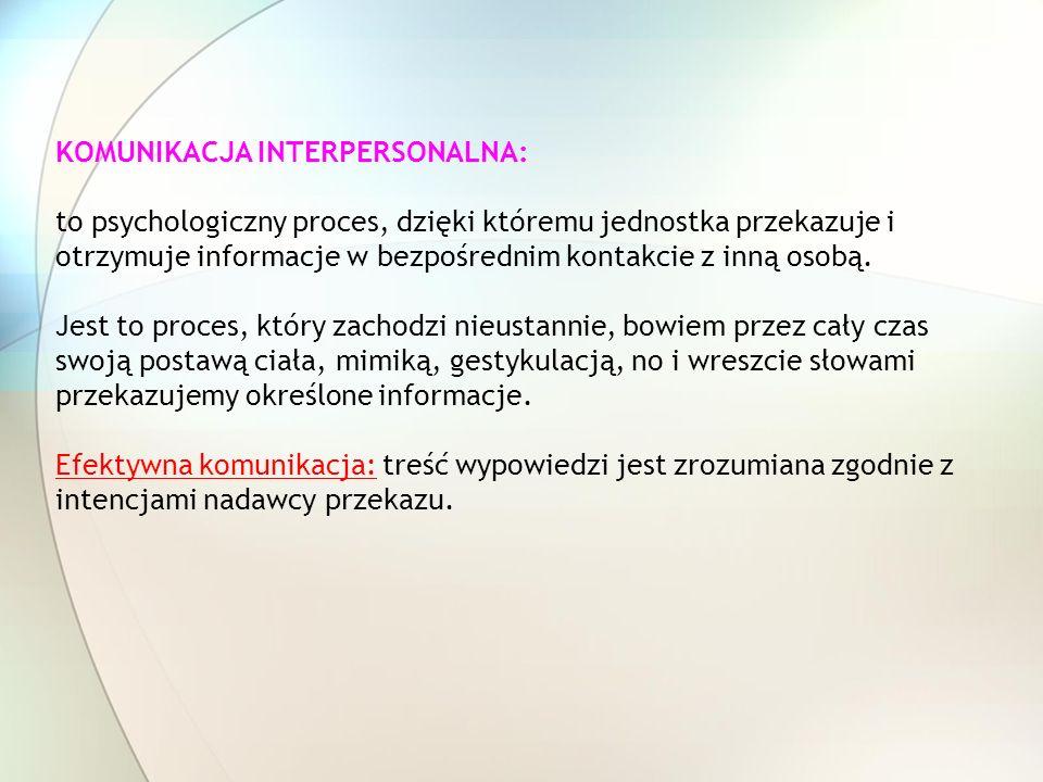 KOMUNIKACJA INTERPERSONALNA: to psychologiczny proces, dzięki któremu jednostka przekazuje i otrzymuje informacje w bezpośrednim kontakcie z inną osobą.