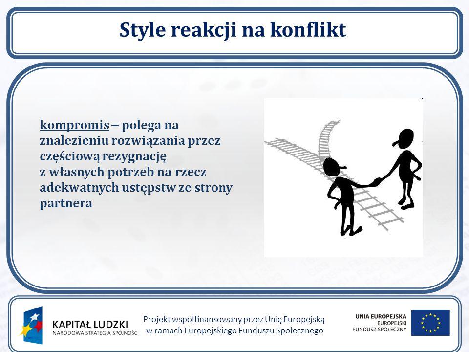 Style reakcji na konflikt Projekt współfinansowany przez Unię Europejską w ramach Europejskiego Funduszu Społecznego kompromis – polega na znalezieniu rozwiązania przez częściową rezygnację z własnych potrzeb na rzecz adekwatnych ustępstw ze strony partnera