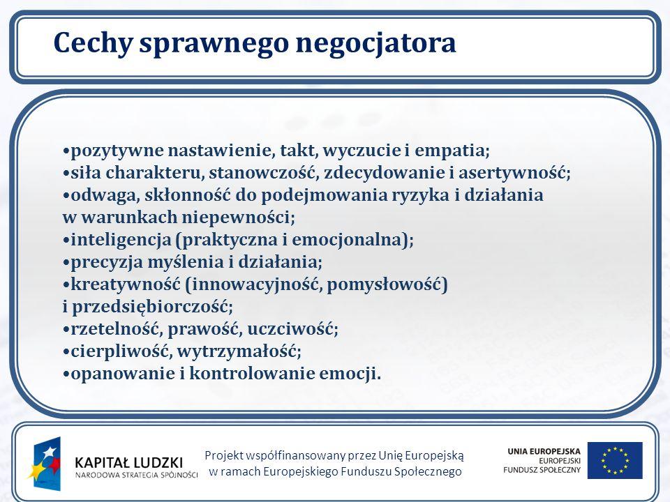 Cechy sprawnego negocjatora Projekt współfinansowany przez Unię Europejską w ramach Europejskiego Funduszu Społecznego pozytywne nastawienie, takt, wyczucie i empatia; siła charakteru, stanowczość, zdecydowanie i asertywność; odwaga, skłonność do podejmowania ryzyka i działania w warunkach niepewności; inteligencja (praktyczna i emocjonalna); precyzja myślenia i działania; kreatywność (innowacyjność, pomysłowość) i przedsiębiorczość; rzetelność, prawość, uczciwość; cierpliwość, wytrzymałość; opanowanie i kontrolowanie emocji.