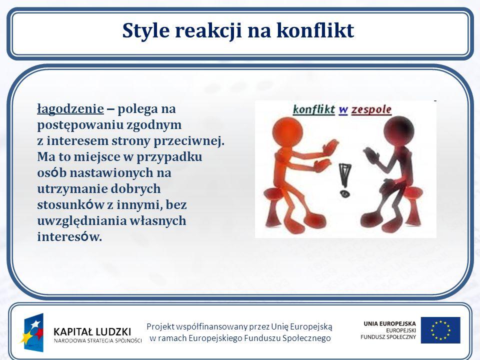 """Style reakcji na konflikt Projekt współfinansowany przez Unię Europejską w ramach Europejskiego Funduszu Społecznego rywalizacja – polega na przyjęciu postawy """" wygrany-przegrany i dążeniu za wszelką cenę do rozstrzygnięcia konfliktu na swoją stronę."""