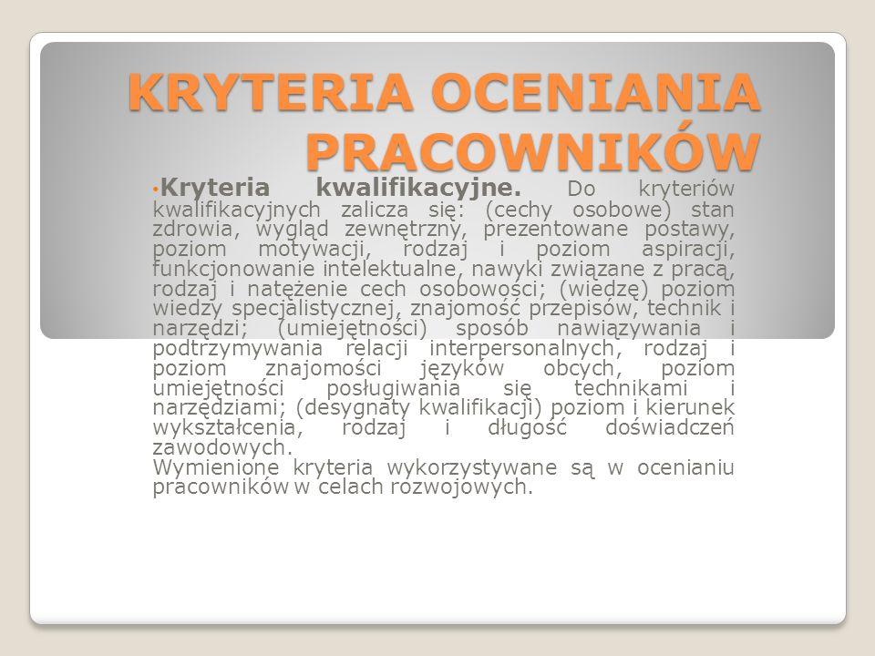 KRYTERIA OCENIANIA PRACOWNIKÓW Kryteria kwalifikacyjne.