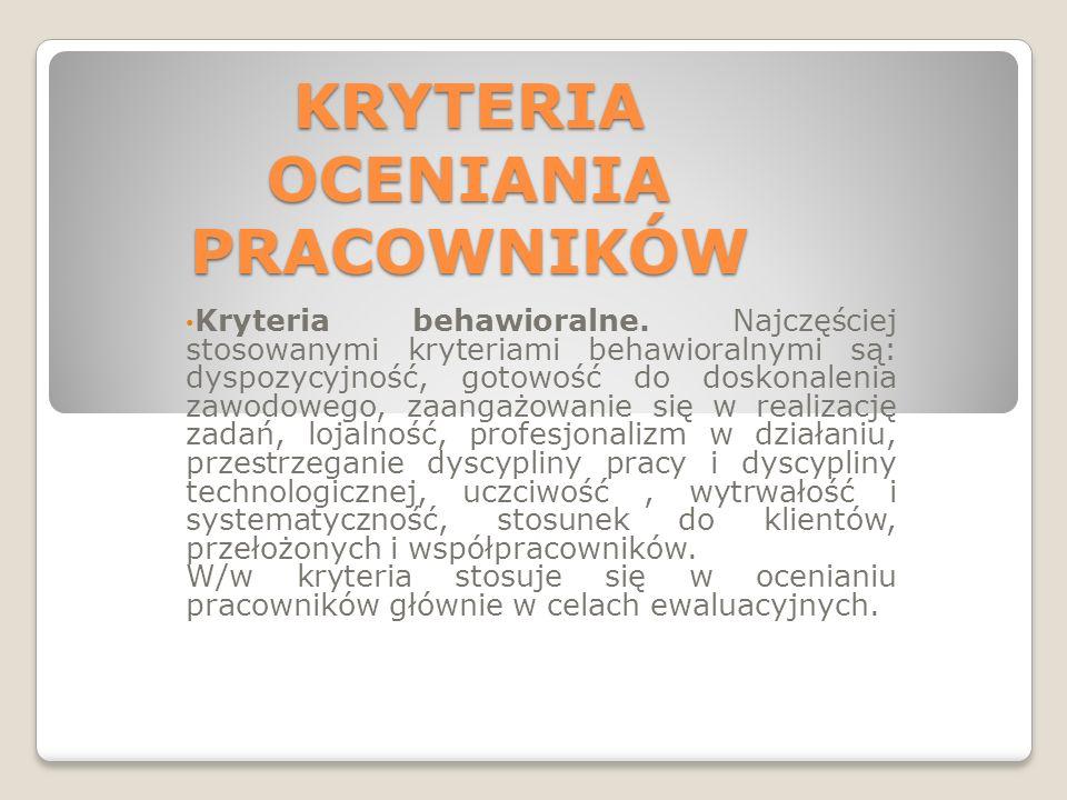 KRYTERIA OCENIANIA PRACOWNIKÓW Kryteria behawioralne.