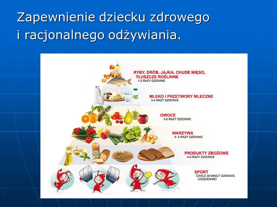 Zapewnienie dziecku zdrowego i racjonalnego odżywiania.