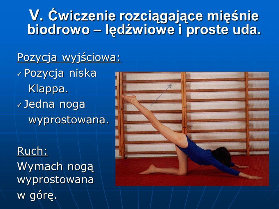 V. Ćwiczenie rozciągające mięśnie biodrowo – lędźwiowe i proste uda.