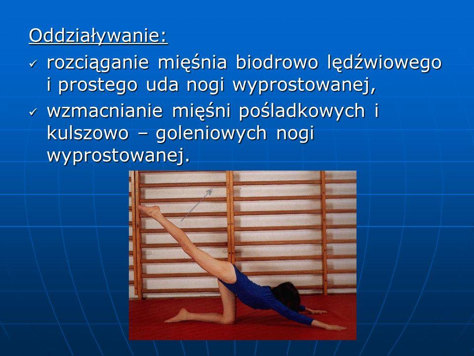 Oddziaływanie: rozciąganie mięśnia biodrowo lędźwiowego i prostego uda nogi wyprostowanej, rozciąganie mięśnia biodrowo lędźwiowego i prostego uda nogi wyprostowanej, wzmacnianie mięśni pośladkowych i kulszowo – goleniowych nogi wyprostowanej.