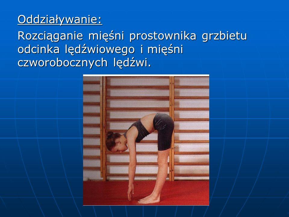 Oddziaływanie: Rozciąganie mięśni prostownika grzbietu odcinka lędźwiowego i mięśni czworobocznych lędźwi.