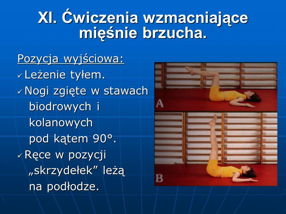 XI. Ćwiczenia wzmacniające mięśnie brzucha. Pozycja wyjściowa: Leżenie tyłem.