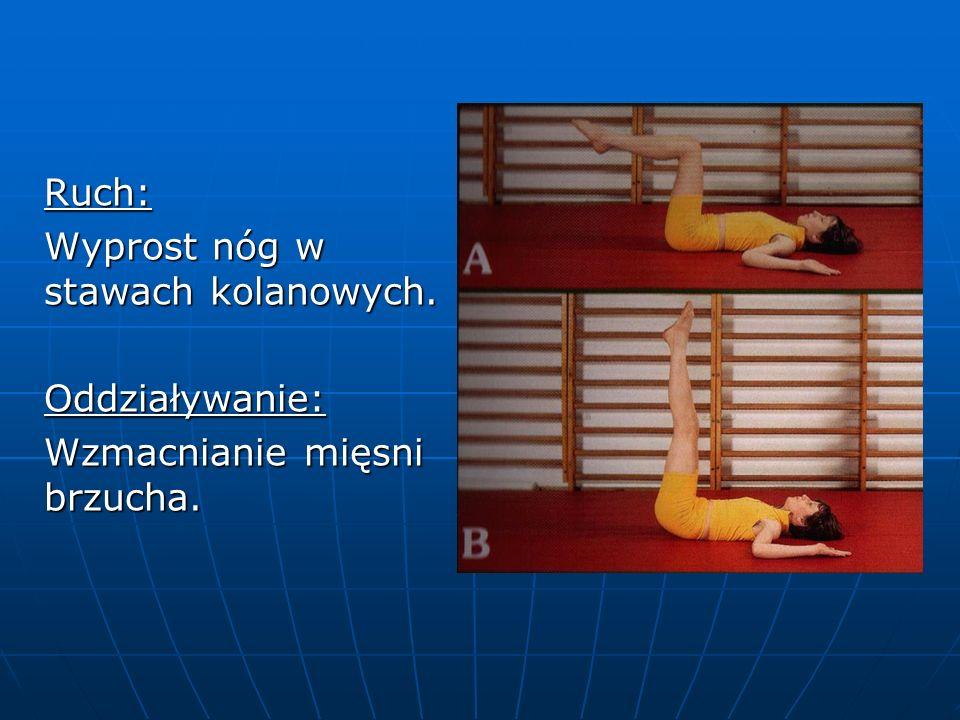 Ruch: Wyprost nóg w stawach kolanowych. Oddziaływanie: Wzmacnianie mięsni brzucha.