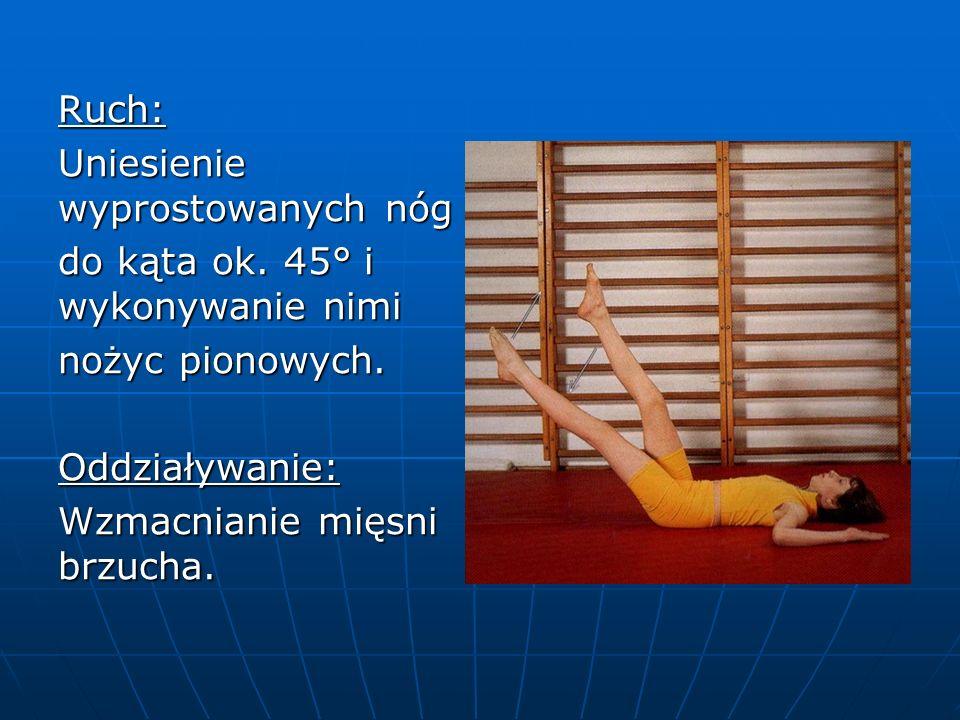 Ruch: Uniesienie wyprostowanych nóg do kąta ok. 45° i wykonywanie nimi nożyc pionowych.