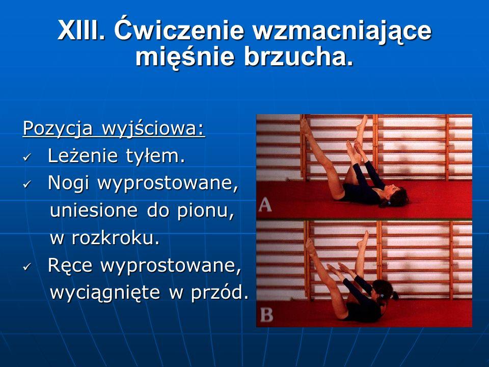 XIII. Ćwiczenie wzmacniające mięśnie brzucha. Pozycja wyjściowa: Leżenie tyłem.