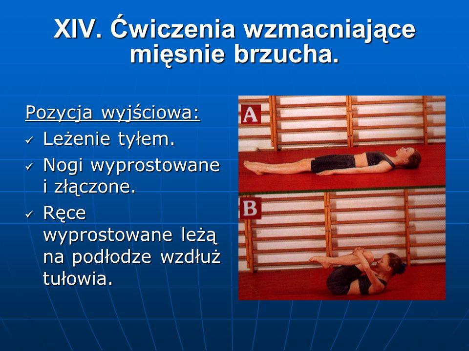 XIV. Ćwiczenia wzmacniające mięsnie brzucha. Pozycja wyjściowa: Leżenie tyłem.