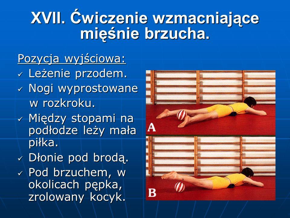 XVII. Ćwiczenie wzmacniające mięśnie brzucha. Pozycja wyjściowa: Leżenie przodem.