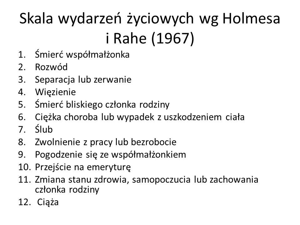 Skala wydarzeń życiowych wg Holmesa i Rahe (1967) 1.Śmierć współmałżonka 2.Rozwód 3.Separacja lub zerwanie 4.Więzienie 5.Śmierć bliskiego członka rodziny 6.Ciężka choroba lub wypadek z uszkodzeniem ciała 7.Ślub 8.Zwolnienie z pracy lub bezrobocie 9.Pogodzenie się ze współmałżonkiem 10.Przejście na emeryturę 11.Zmiana stanu zdrowia, samopoczucia lub zachowania członka rodziny 12.