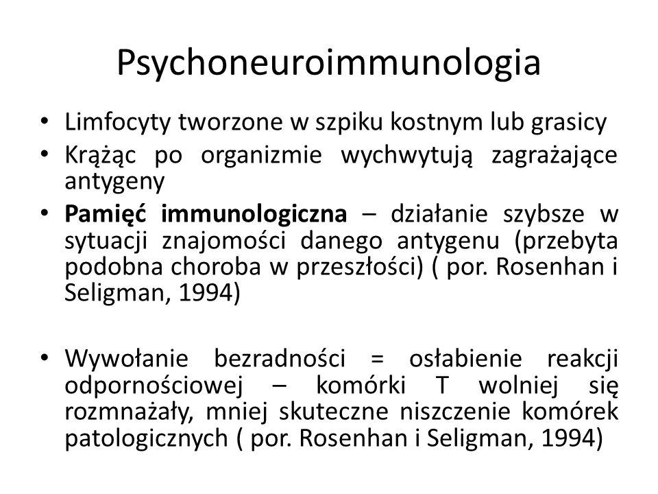 Psychoneuroimmunologia Limfocyty tworzone w szpiku kostnym lub grasicy Krążąc po organizmie wychwytują zagrażające antygeny Pamięć immunologiczna – działanie szybsze w sytuacji znajomości danego antygenu (przebyta podobna choroba w przeszłości) ( por.