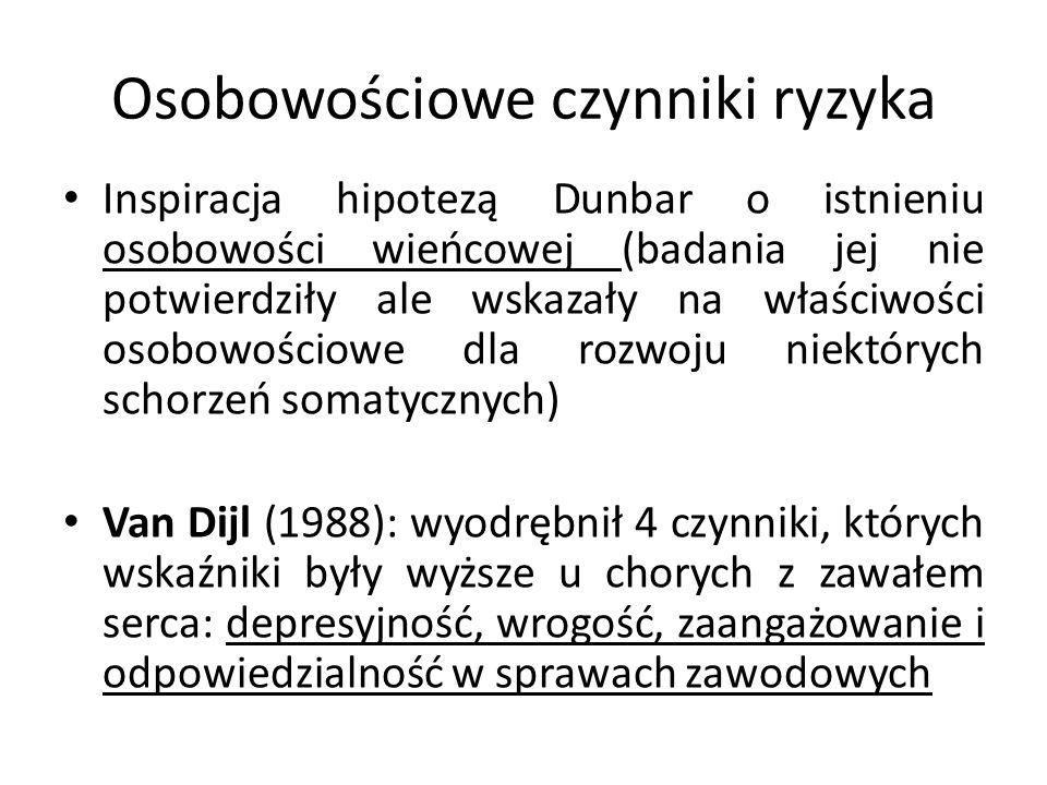 Osobowościowe czynniki ryzyka Łazowski (1985): charakterystyczny dla pacjentów z chorobami układu krążenia i z choroba wrzodową jest tzw.