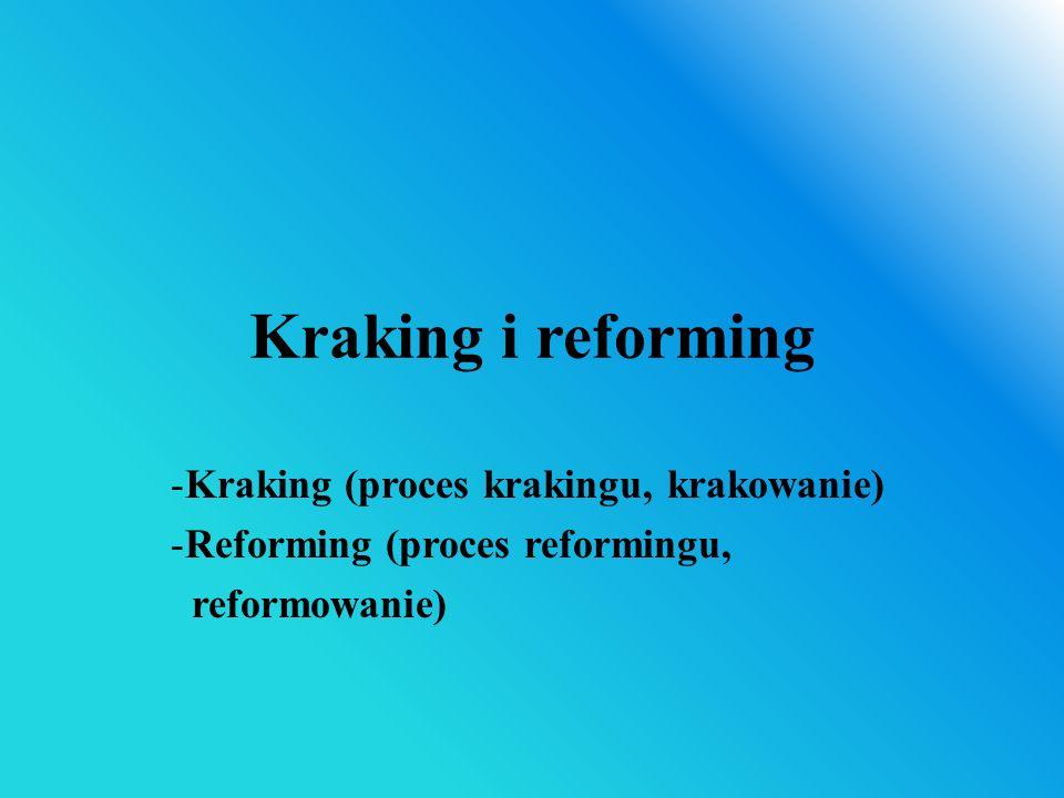 Kraking i reforming -Kraking (proces krakingu, krakowanie) -Reforming (proces reformingu, reformowanie)