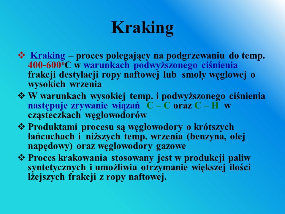 Kraking  Kraking – proces polegający na podgrzewaniu do temp. 400-600 o C w warunkach podwyższonego ciśnienia frakcji destylacji ropy naftowej lub sm
