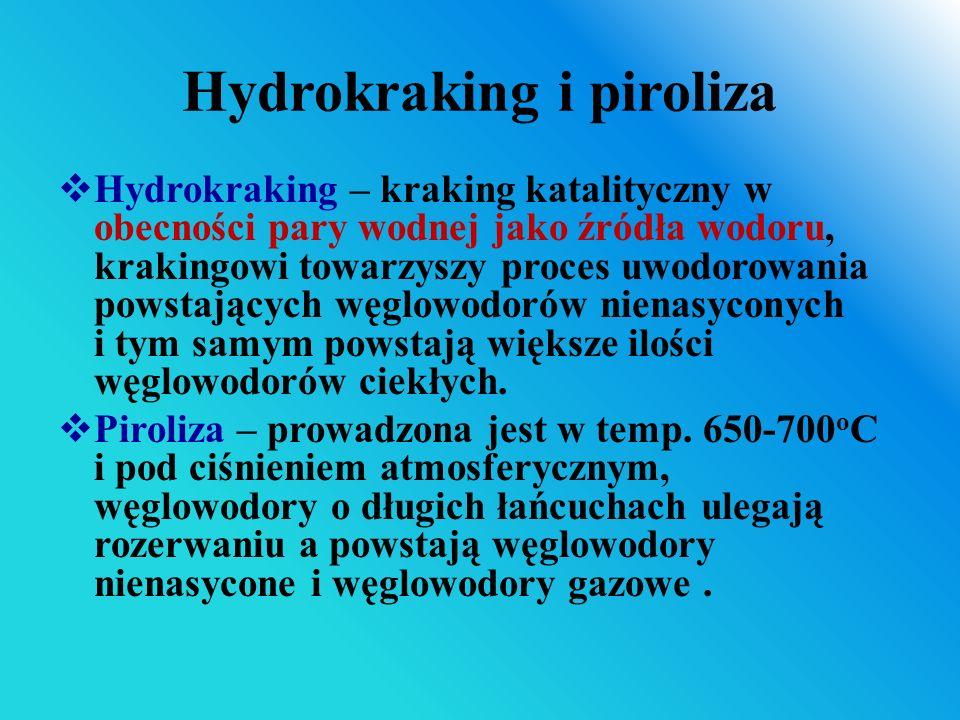 Hydrokraking i piroliza  Hydrokraking – kraking katalityczny w obecności pary wodnej jako źródła wodoru, krakingowi towarzyszy proces uwodorowania po