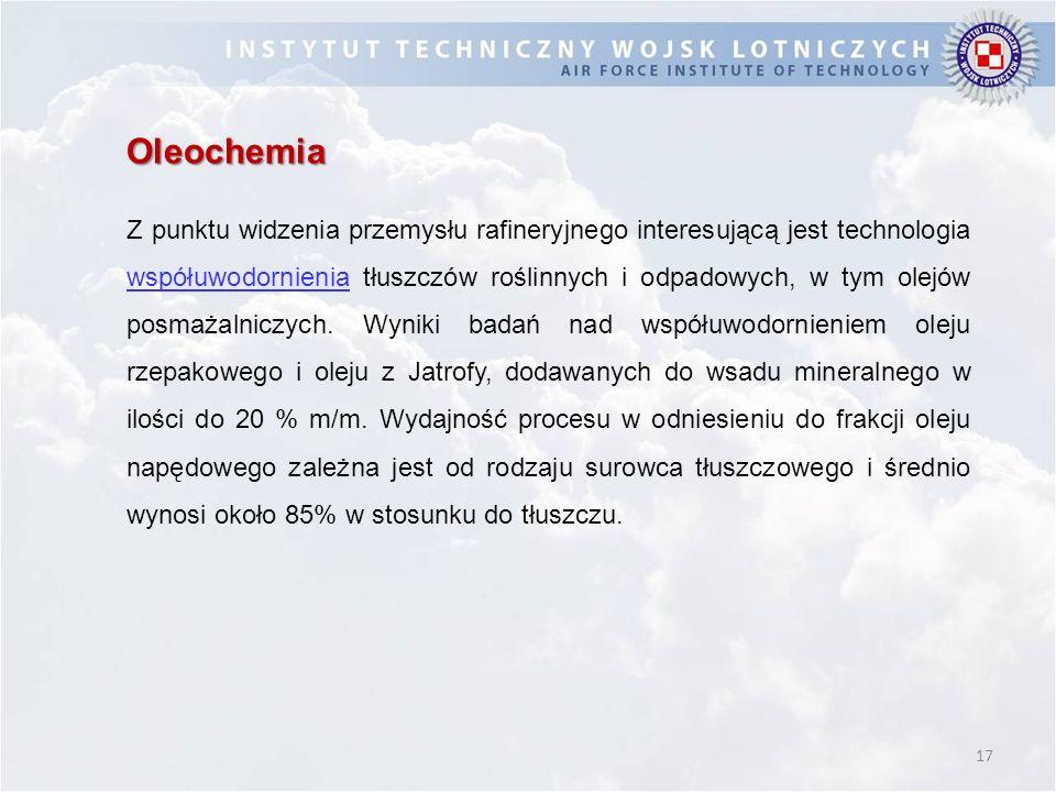 17 Oleochemia Z punktu widzenia przemysłu rafineryjnego interesującą jest technologia współuwodornienia tłuszczów roślinnych i odpadowych, w tym olejó