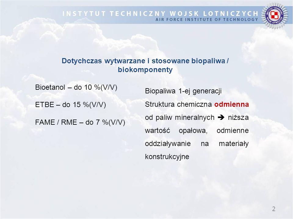 2 Dotychczas wytwarzane i stosowane biopaliwa / biokomponenty Bioetanol – do 10 %(V/V) ETBE – do 15 %(V/V) FAME / RME – do 7 %(V/V) Biopaliwa 1-ej generacji Struktura chemiczna odmienna od paliw mineralnych  niższa wartość opałowa, odmienne oddziaływanie na materiały konstrukcyjne