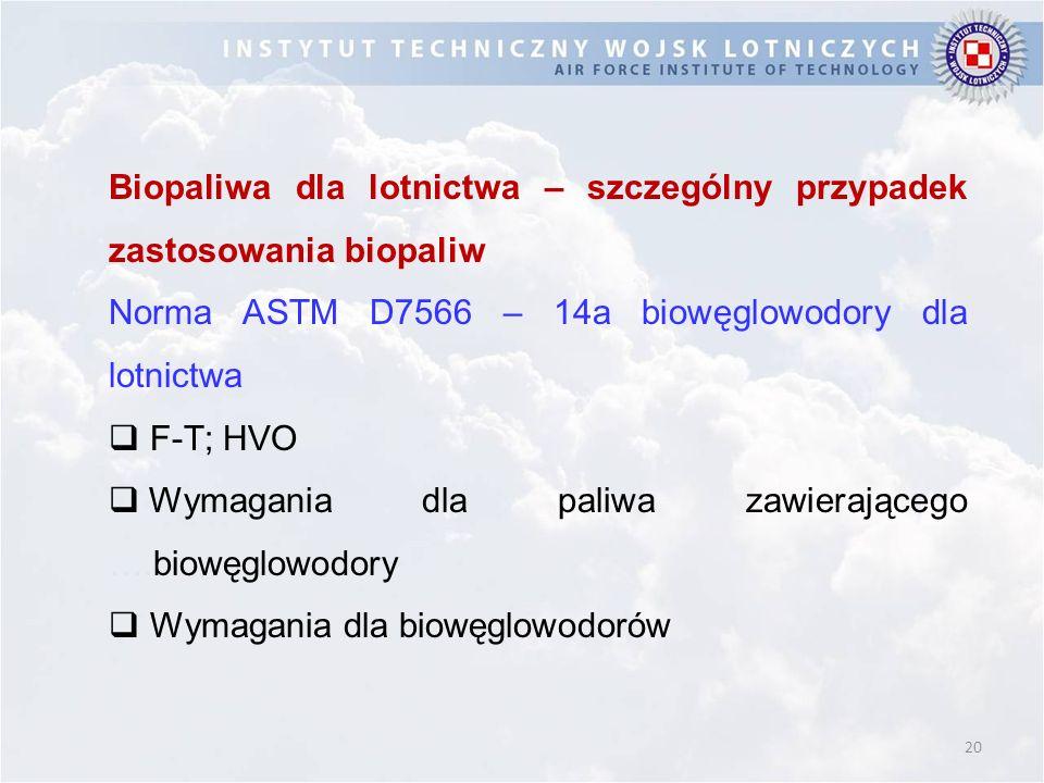 20 Biopaliwa dla lotnictwa – szczególny przypadek zastosowania biopaliw Norma ASTM D7566 – 14a biowęglowodory dla lotnictwa  F-T; HVO  Wymagania dla paliwa zawierającego ….biowęglowodory  Wymagania dla biowęglowodorów