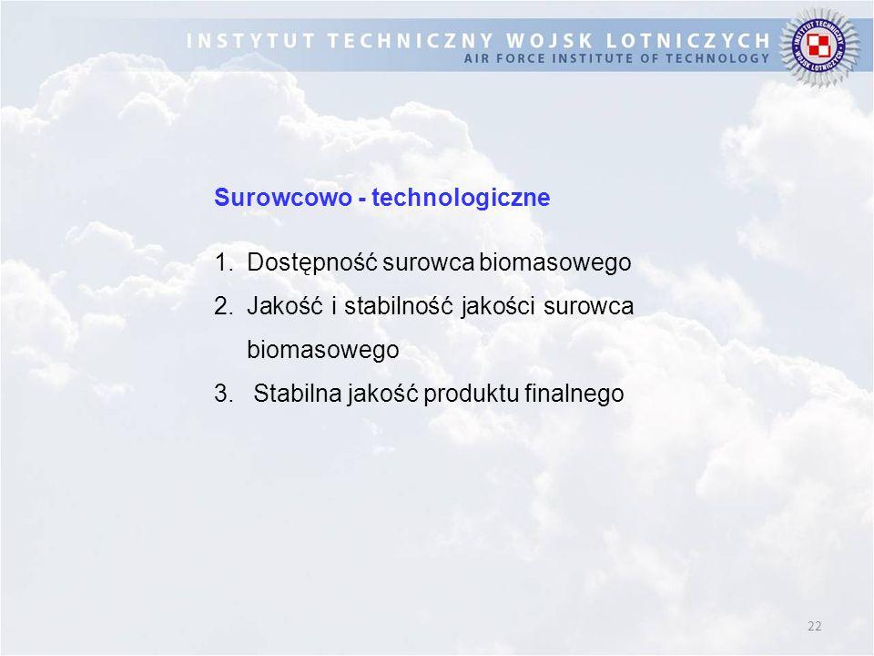 22 Surowcowo - technologiczne 1.Dostępność surowca biomasowego 2.Jakość i stabilność jakości surowca biomasowego 3. Stabilna jakość produktu finalnego