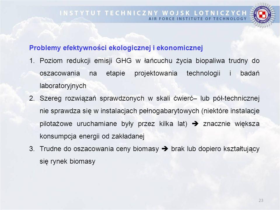 23 Problemy efektywności ekologicznej i ekonomicznej 1.Poziom redukcji emisji GHG w łańcuchu życia biopaliwa trudny do oszacowania na etapie projektow