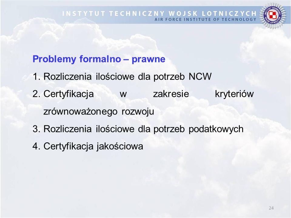 24 Problemy formalno – prawne 1.Rozliczenia ilościowe dla potrzeb NCW 2.Certyfikacja w zakresie kryteriów zrównoważonego rozwoju 3.Rozliczenia ilościowe dla potrzeb podatkowych 4.Certyfikacja jakościowa