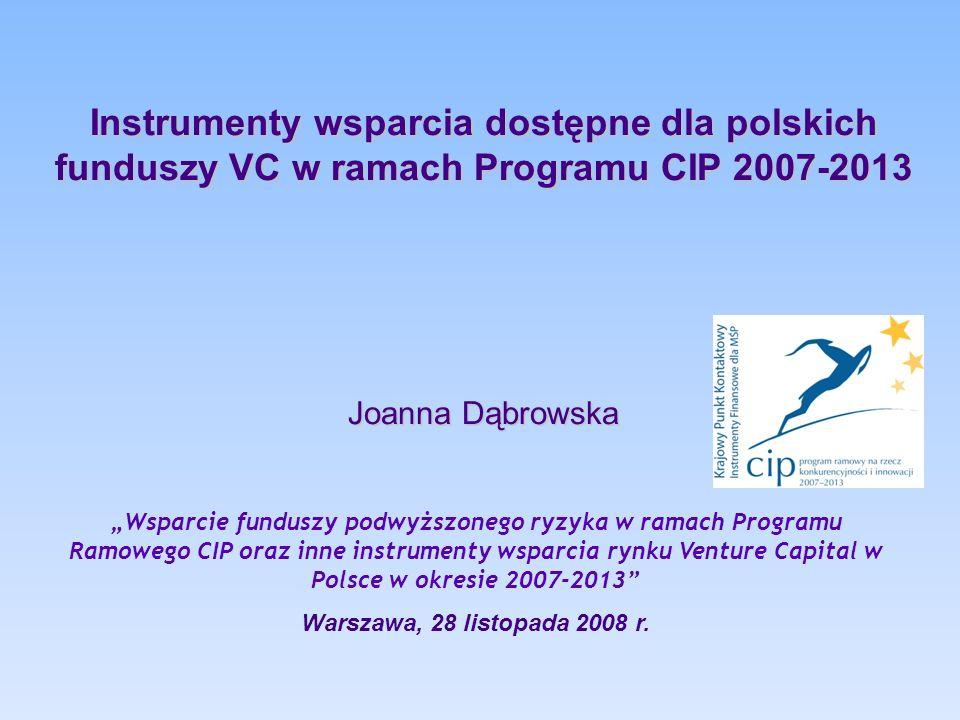 """Instrumenty wsparcia dostępne dla polskich funduszy VC w ramach Programu CIP 2007-2013 Joanna Dąbrowska """"Wsparcie funduszy podwyższonego ryzyka w rama"""